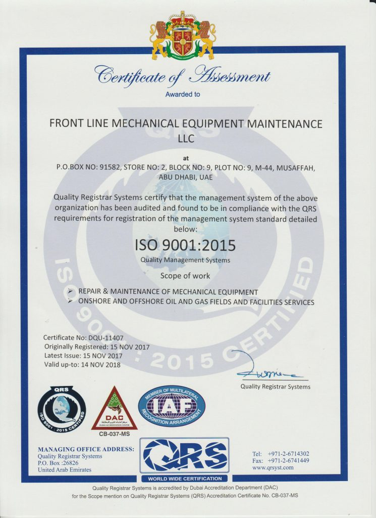 Certificate Frontline Mechanical Equipment Maintenance Llc